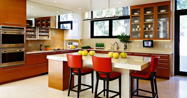 Contemporary Kitchen Island With Red Counter Stools