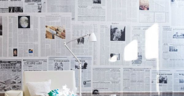 Muur behangen met kranten mooie manier om schuur op te frissen home deco pinterest - Tijdschrift interieur decoratie ...