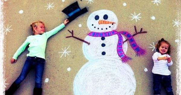 What a great idea for family Christmas cards! Draw a snowy scene