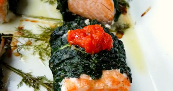 Sriracha baked Salmon and Kale Wraps with Roasted Red Pepper Sauce