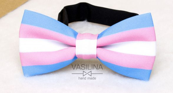 Blue CTM/® Striped Trans Pride Bow Tie and Suspender Set