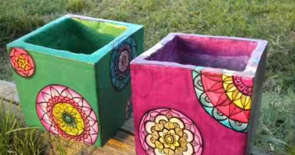 Macetas mandalas de cemento artesanales pintadas a mano for Macetas de cemento