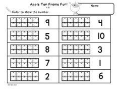 Free Printable Ten Frame Worksheets Kindergarten Math Activities Preschool Math Ten Frame