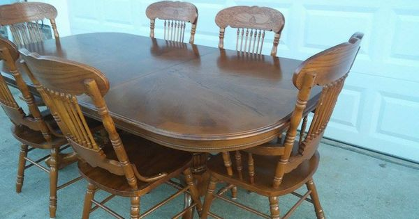 Beautiful Solid Red Oak Kitchen Dining Room Table W 6