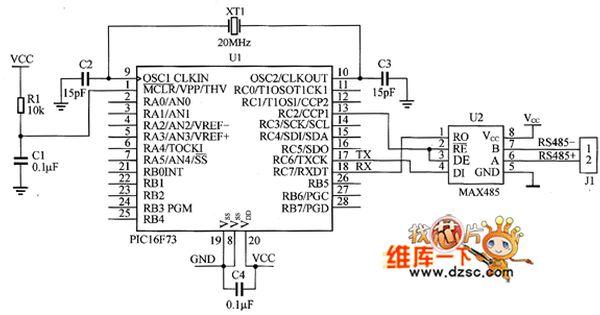 Pic16f73 And Max485 Interface Circuit Diagram Circuit Diagram Diagram Pic Microcontroller
