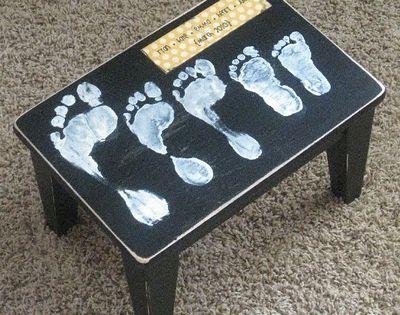 A step stool with family footprints :) Cute idea!!