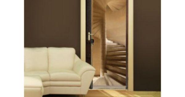 Sticker trompe l 39 oeil de portes escalier vis trompe for Sticker decoration de porte trompe l oeil escalier