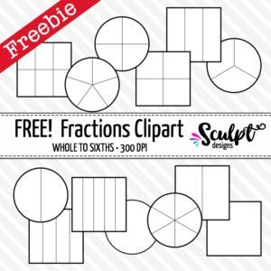 Fractions Clip Art Free Black White Outlines Fractions Clip Art Math Clipart