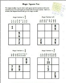 Printable Fraction Worksheets Your Students Will Enjoy Because These Are Fun Fractions Worksheets Magic Squares Math Math Fractions