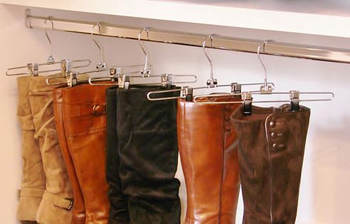 hanging boots with pants hangers what a great idea!!!