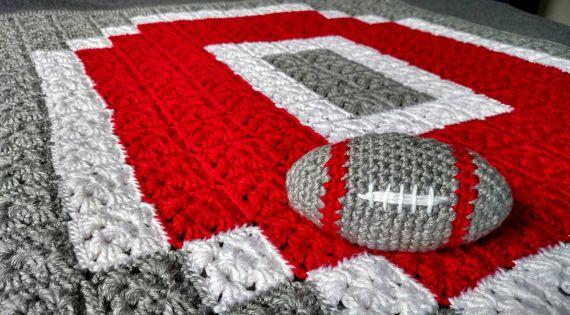 Crochet Ohio State Blanket Customizable Handmade Block O