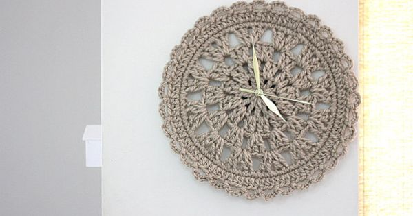 Pinned for inspiration clock sand crochet doily clock for home round clock home decor Crochet home decor pinterest