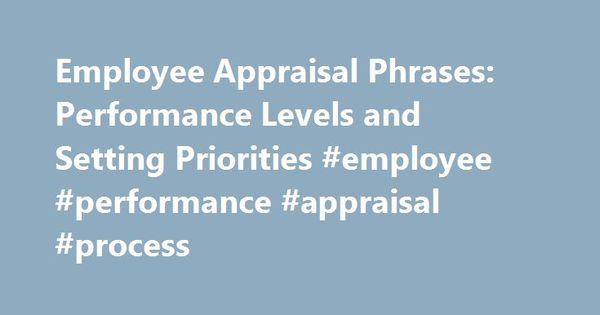 Employee Appraisal Phrases Performance Levels And Setting