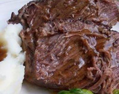 Slow Cooker Roast Beef -3 beef chuck roast, 1/3 cup soy sauce,