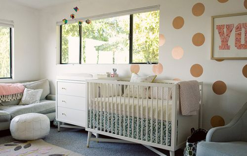 Love the polka dots on the wall, and the colors! this is