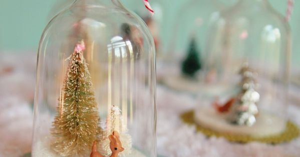 DIY Vintage Inspired Bell Jar Ornaments - Using plastic wine glasses, trinkets,