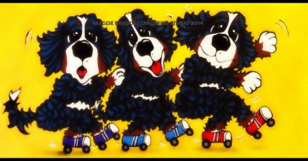 Bernese Mountain Dog Roller Boogie Roller Skates Dancing Happy Dogs Bmd Painting 7x14 Original Maggie Brudos Whimsical Art Tangerine Studio With Images Bernese Mountain Dog Whimsical Art Dog Art