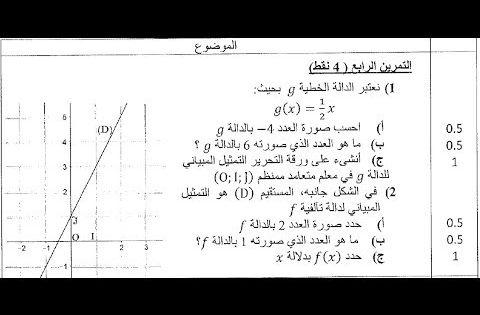 تمرين 3 مقتطف من إمتحان جهوي جهة الدار البيضاء سطات 2018 الدالة الخطية والدالة التآلفية 3asc Youtube Youtube Math