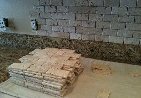 Tumble travertine backsplash 2x4 tumbled brick chiaro for Best grout color for travertine tile