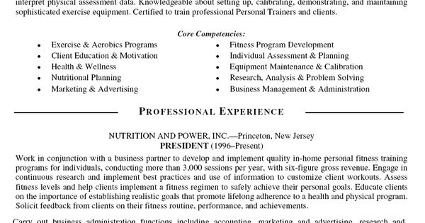 personal trainer resume objective personal trainer resume
