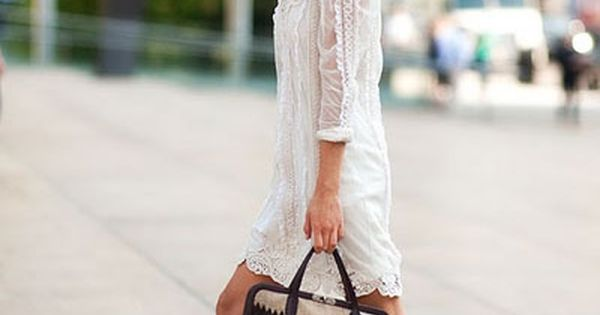 Street Style White Dress, Silver Sandals Fashion Women_Style