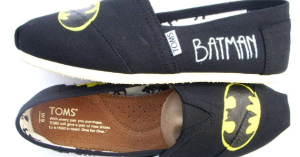 Batman TOMS Custom TOMS Painted on Black TOMS by FruitfulFeet, $110.00