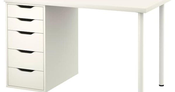 Linnmon Alex Table White 120x60 Cm With Images Desk With Drawers Minimalist Decor Minimalist Home