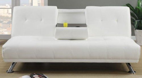 Plush Cream Faux Leather Adjustable Sofa Bed By Poundex White Leather Sofas White Leather Sofa Bed Best Leather Sofa