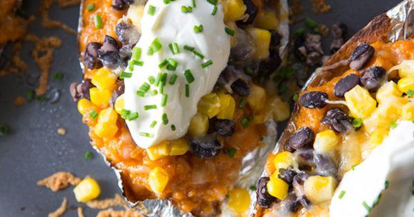 Southwestern Sweet Potato Skins   Recipe   Sweet Potato Skins, Potato ...