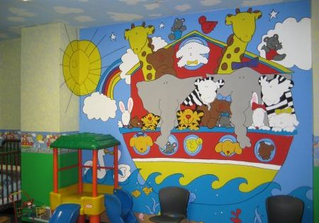 Noah 39 s ark theme more pictures and ideas for items for Church nursery mural ideas