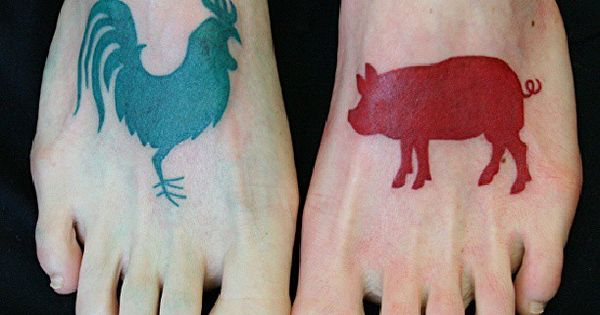 Green rooster and red pig tattoos on feet tattoo for Pig and rooster tattoo meaning
