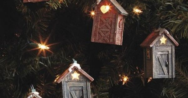 Rustic Cabin Lodge Outhouse String Of Lights Indoor Or