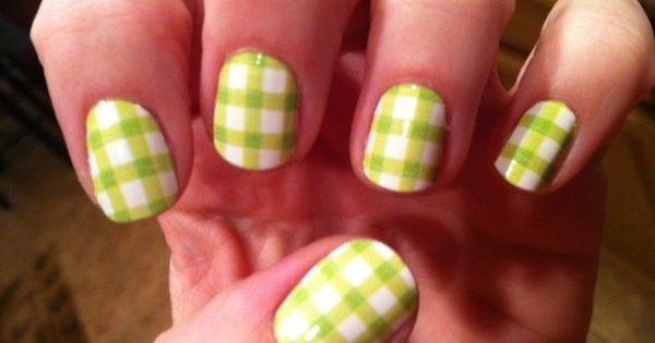 gingham nail design