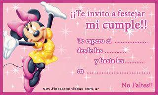 Minnie Invitaciones De Cumpleaños Para Imprimir Tarjeta