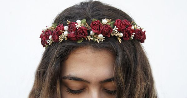 Burgundy Red Rose And Pearl Flower Crown Red Flower Crown Floral Crown Bridal Rose Headband