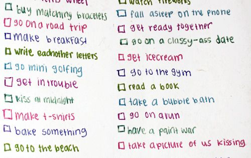 check list of things to do with your lover. romantic.