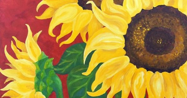 Original Painting SUNFLOWERS on RED18x24 Acrylic Canvas by nJoyArt, $200.00 art decor