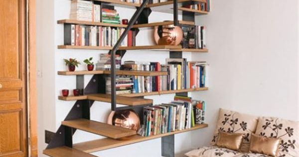 Home library attic set up library books attic home library pinterest library books - Staircases with integrated bookshelves ...