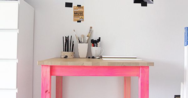 Pink leg drawing table. Add some color to the legs of our