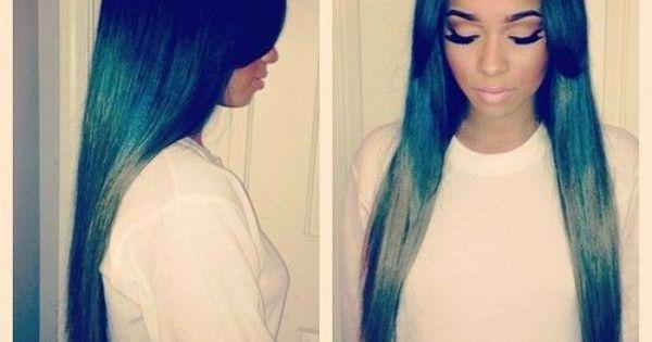 Long Green Ombre Sew In W 2 Side Bangs Hair Work 2