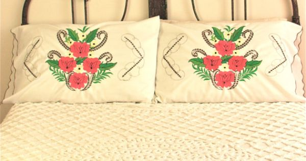 Vintage mexican embroidered pillow cases mexican style Mexican embroidered bedding