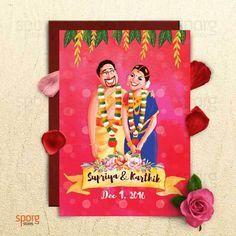 Creative Fun And Unique Indian Wedding Invitation Card Ideas Caricature Cards Caricature Wedding Invitations Indian Wedding Invitation Cards Illustrated Wedding Invitations