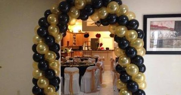 Black And Gold Balloon Columns Google Search Black And Gold