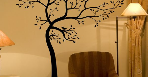 Details about wall decal 6 ft big tree deco art sticker for Black tree wall mural