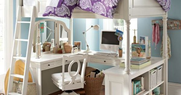Vanity and a desk under a loft bed. Genius idea for small