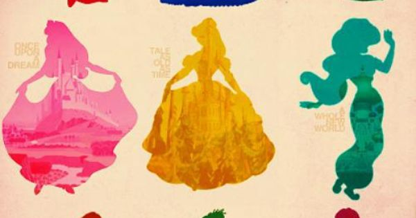 Disney Characters| Neat idea- Silhouettes with colors!