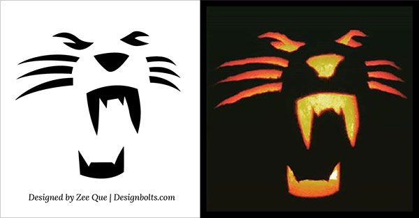 pumpkin template lion  Free Simple & Easy Pumpkin Carving Stencils / Patterns for ...