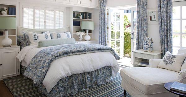 white and blue bedroom - stripe rug, bolster
