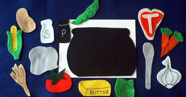 Stone soup flannel board felt story set and sequencing cards plus
