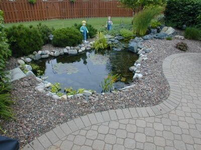 I May Want To Remove The Bricks Around The Pond Some Of Them Are Caving In And Put Gravel Diy Patio Pavers Patio Design Paver Patio